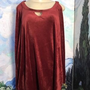 Woman Within Red Velour Cold Shoulder Tunic Top
